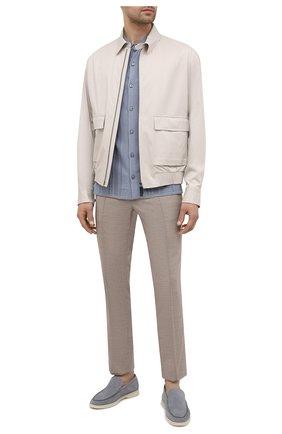 Мужские брюки из шерсти и льна BRIONI бежевого цвета, арт. RPM20L/P9AB9/NEW SIDNEY | Фото 2