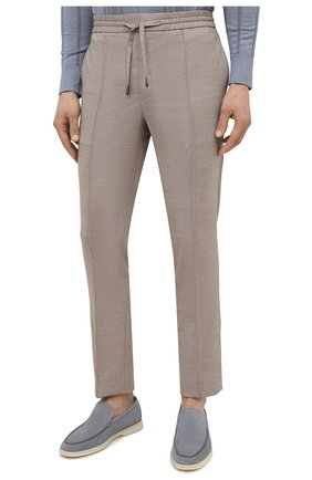 Мужские брюки из шерсти и льна BRIONI бежевого цвета, арт. RPM20L/P9AB9/NEW SIDNEY   Фото 3