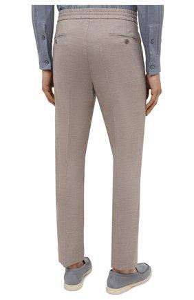 Мужские брюки из шерсти и льна BRIONI бежевого цвета, арт. RPM20L/P9AB9/NEW SIDNEY   Фото 4