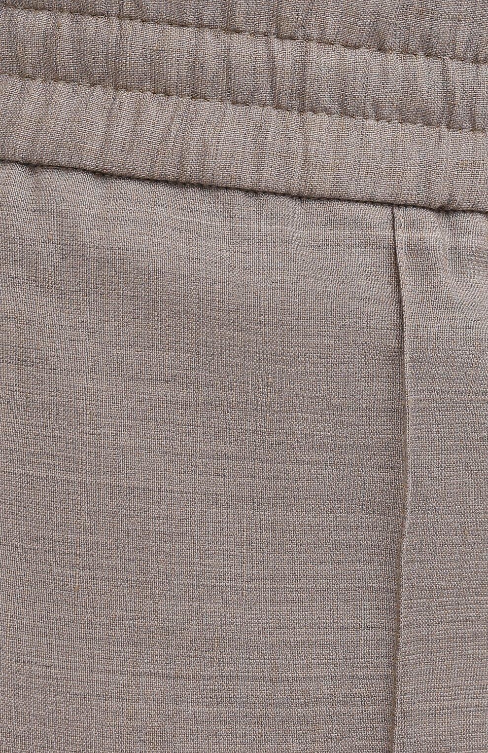 Мужские брюки из шерсти и льна BRIONI бежевого цвета, арт. RPM20L/P9AB9/NEW SIDNEY   Фото 5
