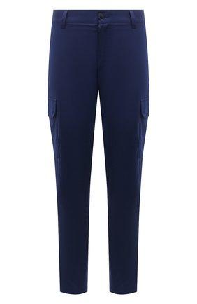 Мужские хлопковые брюки-карго BRIONI темно-синего цвета, арт. RPAB0L/P0009/RANGIR0A | Фото 1 (Длина (брюки, джинсы): Стандартные; Материал внешний: Хлопок; Силуэт М (брюки): Карго; Случай: Повседневный; Стили: Кэжуэл)