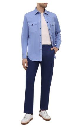 Мужские хлопковые брюки-карго BRIONI темно-синего цвета, арт. RPAB0L/P0009/RANGIR0A | Фото 2 (Длина (брюки, джинсы): Стандартные; Материал внешний: Хлопок; Силуэт М (брюки): Карго; Случай: Повседневный; Стили: Кэжуэл)