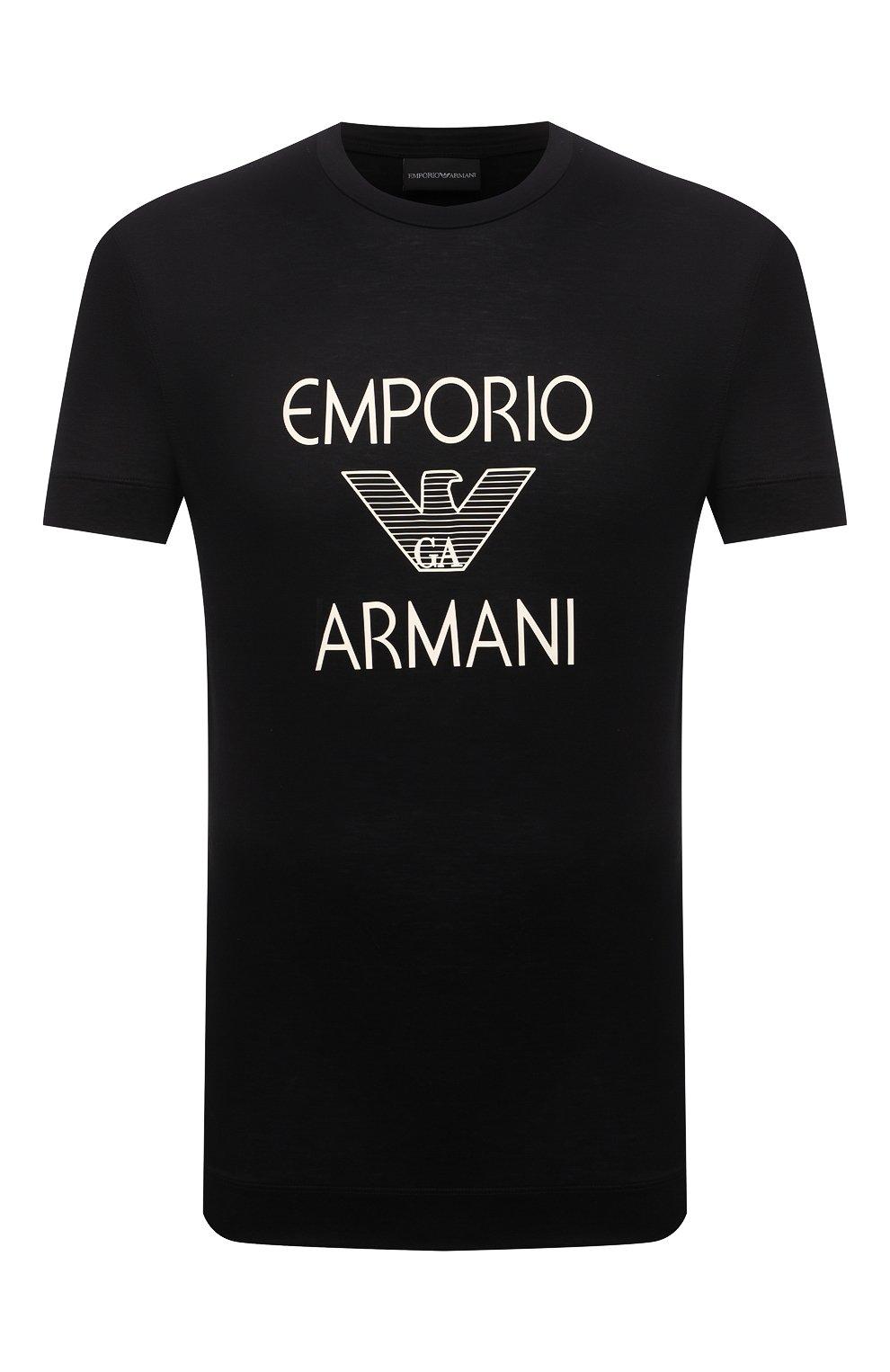 Мужская футболка EMPORIO ARMANI черного цвета, арт. 3K1TAF/1JUVZ   Фото 1 (Рукава: Короткие; Длина (для топов): Стандартные; Принт: С принтом; Материал внешний: Хлопок, Лиоцелл; Стили: Кэжуэл)