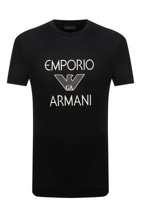 Мужская футболка EMPORIO ARMANI черного цвета, арт. 3K1TAF/1JUVZ | Фото 1 (Длина (для топов): Стандартные; Материал внешний: Лиоцелл, Хлопок; Рукава: Короткие; Принт: С принтом; Стили: Кэжуэл)