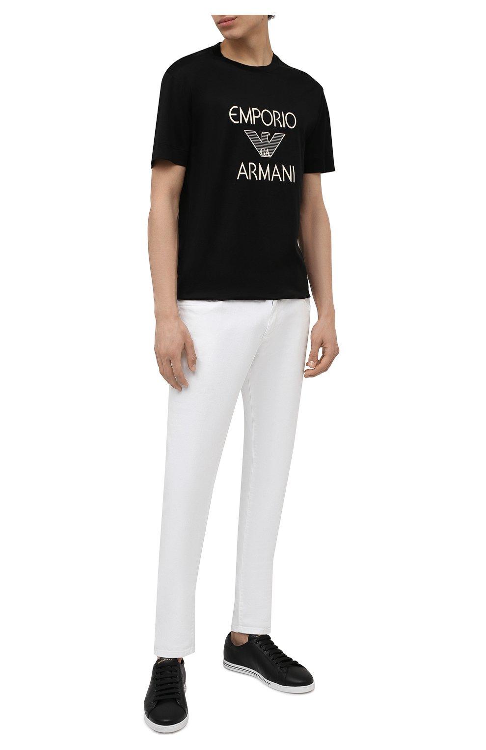 Мужская футболка EMPORIO ARMANI черного цвета, арт. 3K1TAF/1JUVZ   Фото 2 (Рукава: Короткие; Длина (для топов): Стандартные; Принт: С принтом; Материал внешний: Хлопок, Лиоцелл; Стили: Кэжуэл)