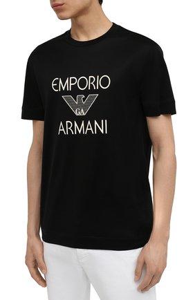 Мужская футболка EMPORIO ARMANI черного цвета, арт. 3K1TAF/1JUVZ   Фото 3 (Рукава: Короткие; Длина (для топов): Стандартные; Принт: С принтом; Материал внешний: Хлопок, Лиоцелл; Стили: Кэжуэл)