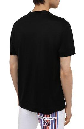 Мужская футболка EMPORIO ARMANI черного цвета, арт. 3K1TAF/1JUVZ   Фото 4 (Рукава: Короткие; Длина (для топов): Стандартные; Принт: С принтом; Материал внешний: Хлопок, Лиоцелл; Стили: Кэжуэл)