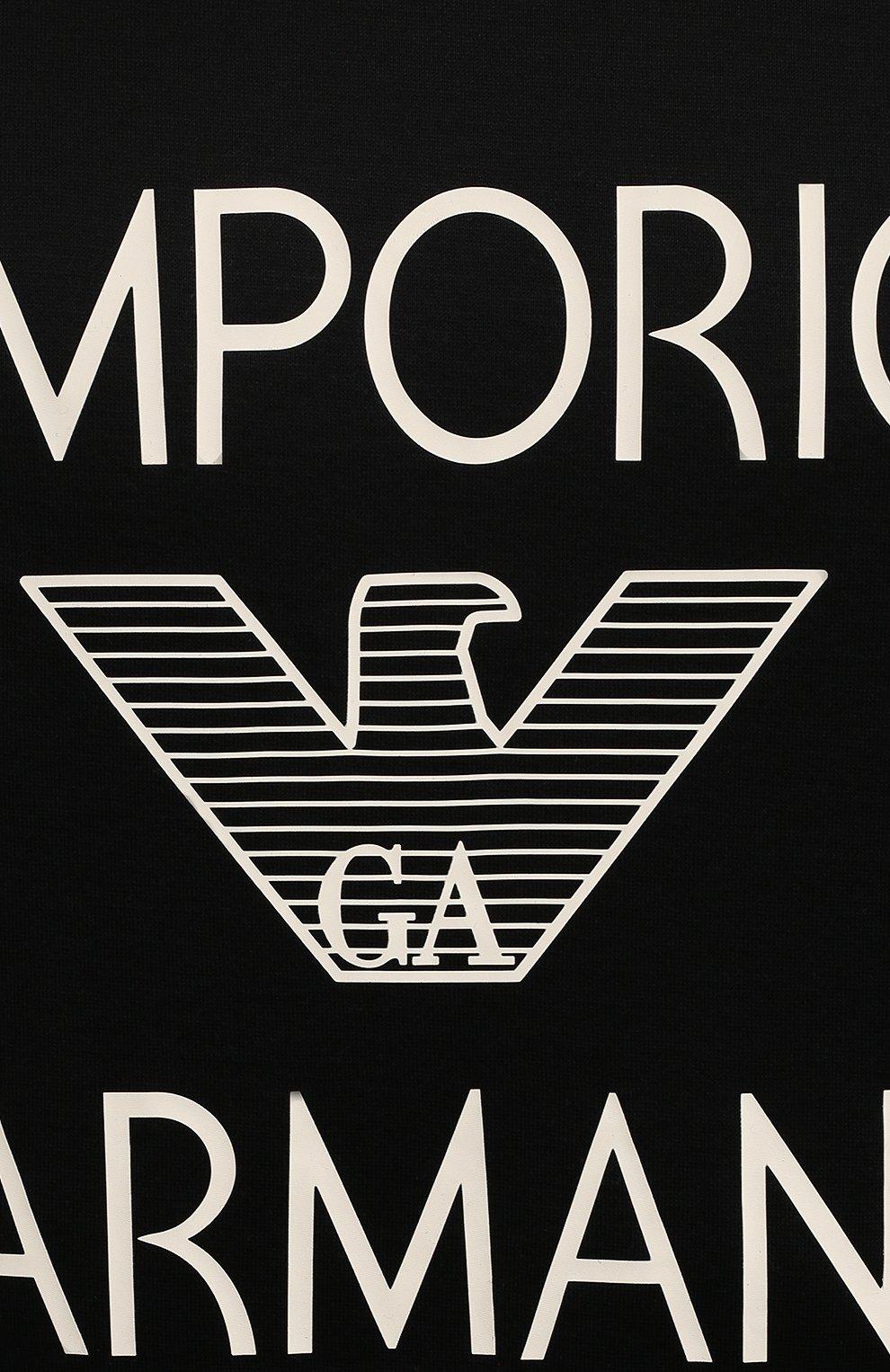 Мужская футболка EMPORIO ARMANI черного цвета, арт. 3K1TAF/1JUVZ   Фото 5 (Рукава: Короткие; Длина (для топов): Стандартные; Принт: С принтом; Материал внешний: Хлопок, Лиоцелл; Стили: Кэжуэл)