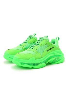 Женские текстильные кроссовки triple s BALENCIAGA зеленого цвета, арт. 544351/W2GR1 | Фото 1