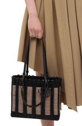Женский сумка-тоут LOEWE черного цвета, арт. A657P28X01   Фото 2 (Сумки-технические: Сумки-шопперы; Размер: medium; Материал: Натуральная кожа)