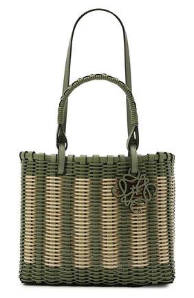 Женский сумка-тоут LOEWE зеленого цвета, арт. A717P28X01   Фото 1 (Материал: Натуральная кожа; Размер: medium; Сумки-технические: Сумки-шопперы)