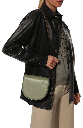 Женская сумка heel LOEWE зеленого цвета, арт. A894A01X02   Фото 2 (Сумки-технические: Сумки через плечо; Материал: Натуральная кожа; Ремень/цепочка: На ремешке; Размер: mini)