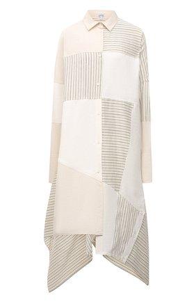 Женское платье из льна и вискозы LOEWE светло-бежевого цвета, арт. S540Y09W03   Фото 1