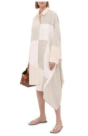 Женское платье из льна и вискозы LOEWE светло-бежевого цвета, арт. S540Y09W03   Фото 2