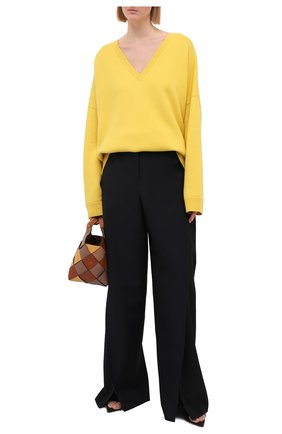 Женский кашемировый пуловер LOEWE желтого цвета, арт. S540Y14K40   Фото 2