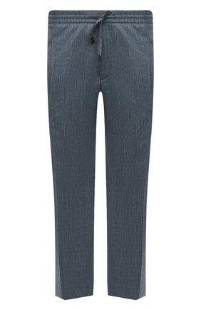 Мужские брюки из шерсти и льна BRIONI бирюзового цвета, арт. RPM20L/P9AB9/NEW SIDNEY   Фото 1 (Стили: Кэжуэл; Случай: Повседневный; Материал внешний: Шерсть; Длина (брюки, джинсы): Стандартные; Big sizes: Big Sizes)