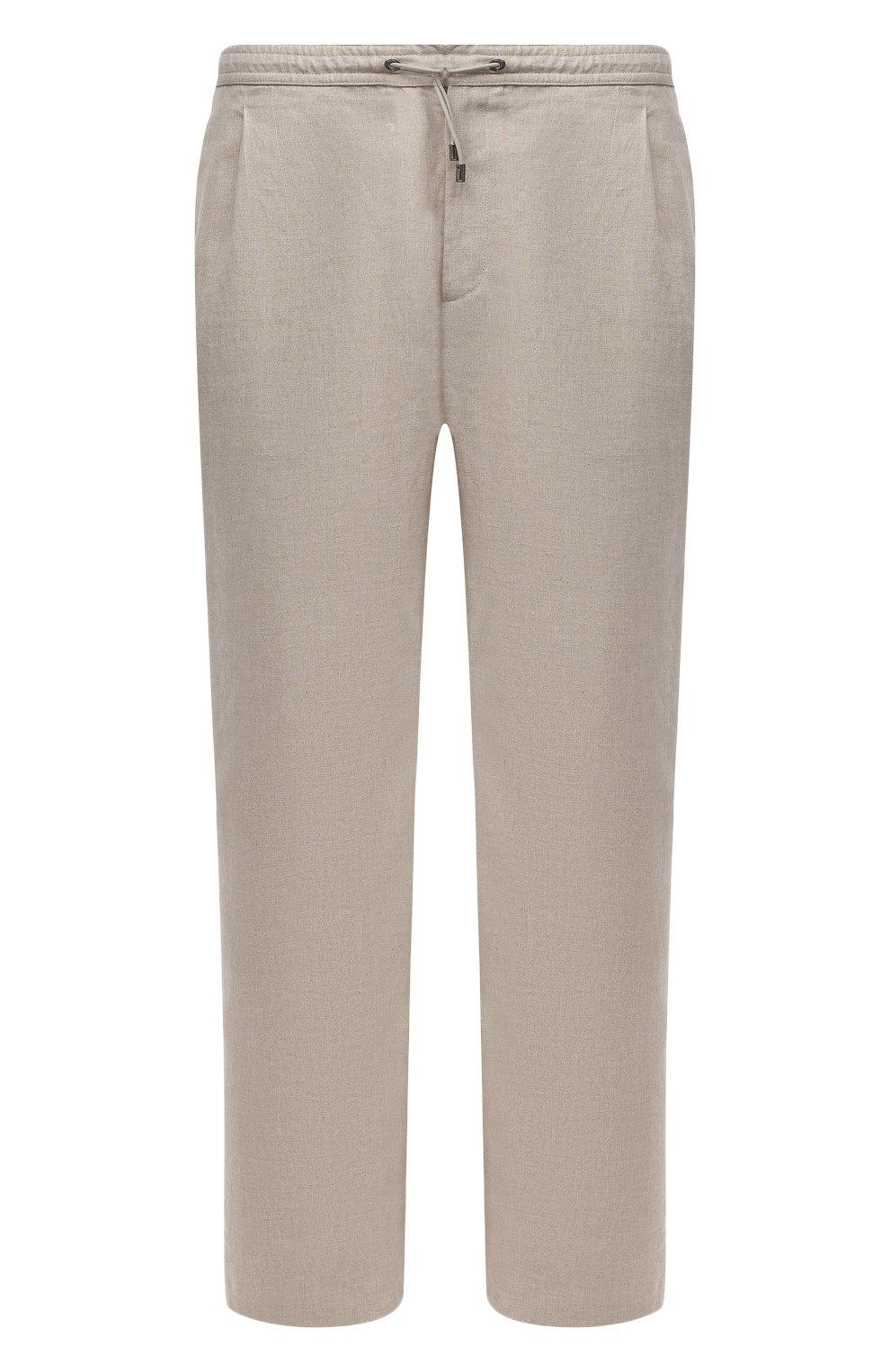 Мужские льняные брюки BRIONI бежевого цвета, арт. RPMJ0M/P6114/NEW JAMAICA | Фото 1