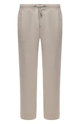 Мужские льняные брюки BRIONI бежевого цвета, арт. RPMJ0M/P6114/NEW JAMAICA | Фото 1 (Длина (брюки, джинсы): Стандартные; Материал внешний: Лен; Случай: Повседневный; Стили: Кэжуэл; Big sizes: Big Sizes)