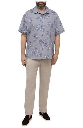 Мужские льняные брюки BRIONI бежевого цвета, арт. RPMJ0M/P6114/NEW JAMAICA | Фото 2 (Длина (брюки, джинсы): Стандартные; Материал внешний: Лен; Случай: Повседневный; Стили: Кэжуэл; Big sizes: Big Sizes)