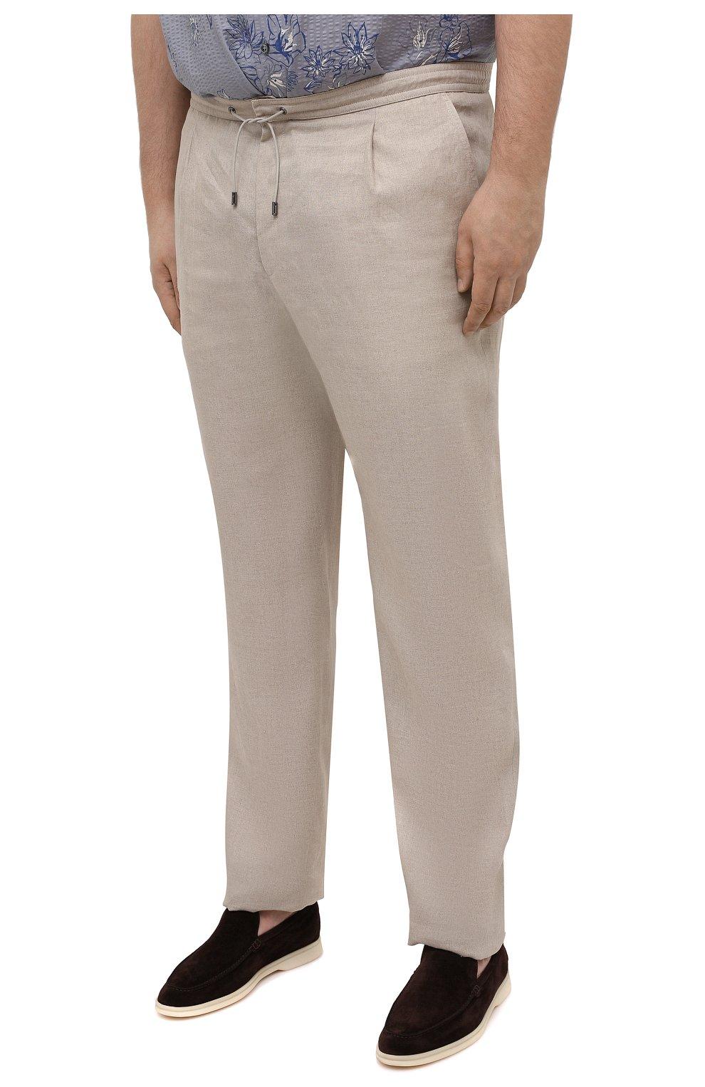 Мужские льняные брюки BRIONI бежевого цвета, арт. RPMJ0M/P6114/NEW JAMAICA | Фото 3