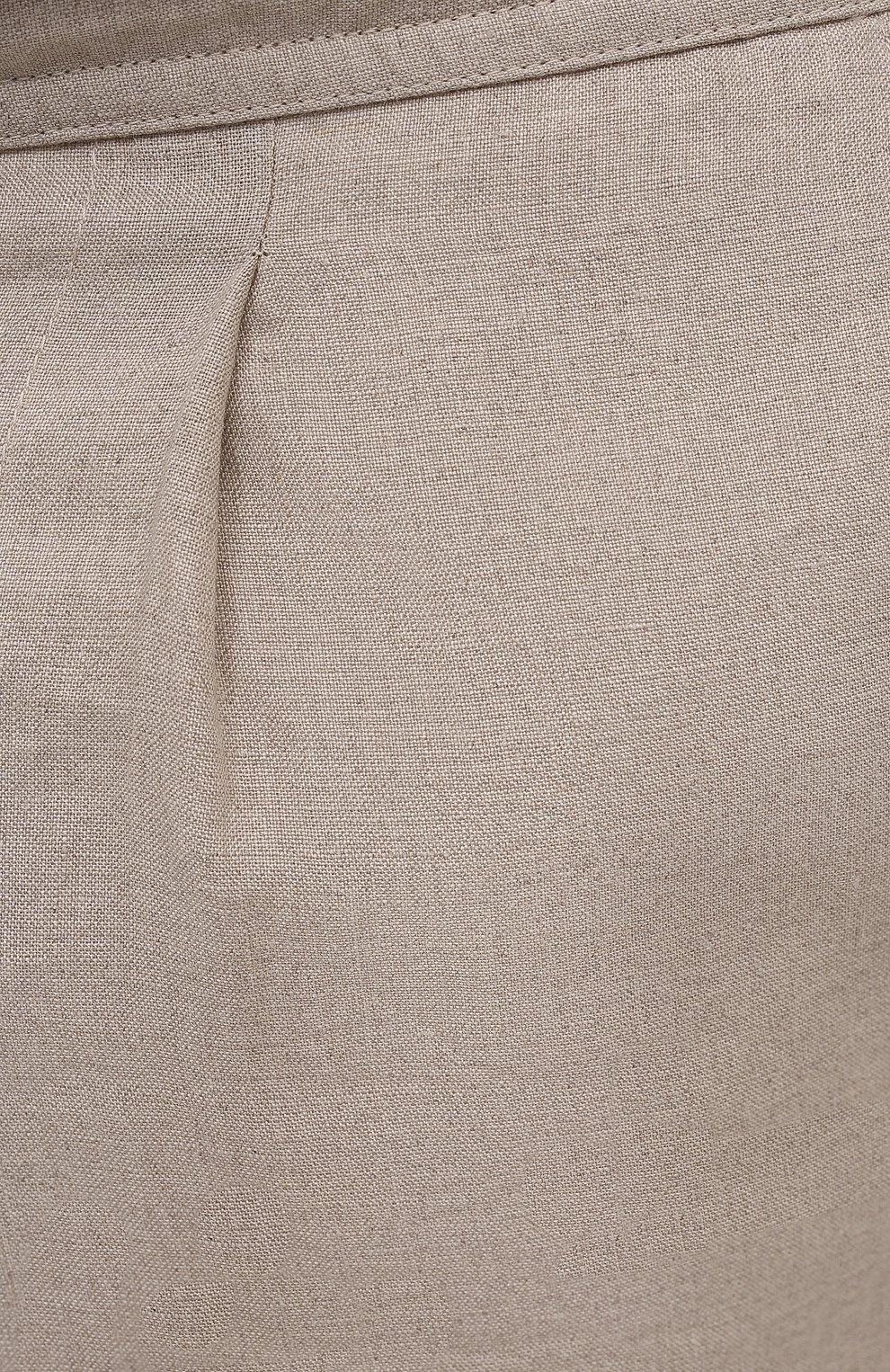 Мужские льняные брюки BRIONI бежевого цвета, арт. RPMJ0M/P6114/NEW JAMAICA | Фото 5