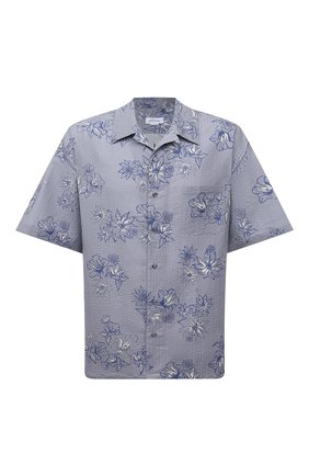 Мужская рубашка изо льна и хлопка BRIONI голубого цвета, арт. SCDZ0L/P0127 | Фото 1