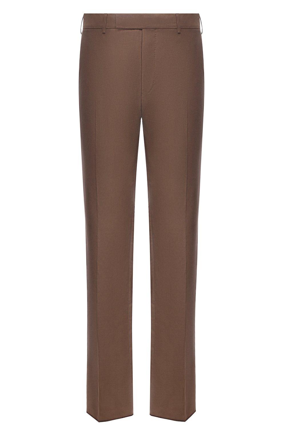 Мужские брюки из шелка и льна TOM FORD коричневого цвета, арт. 976R15/759242   Фото 1