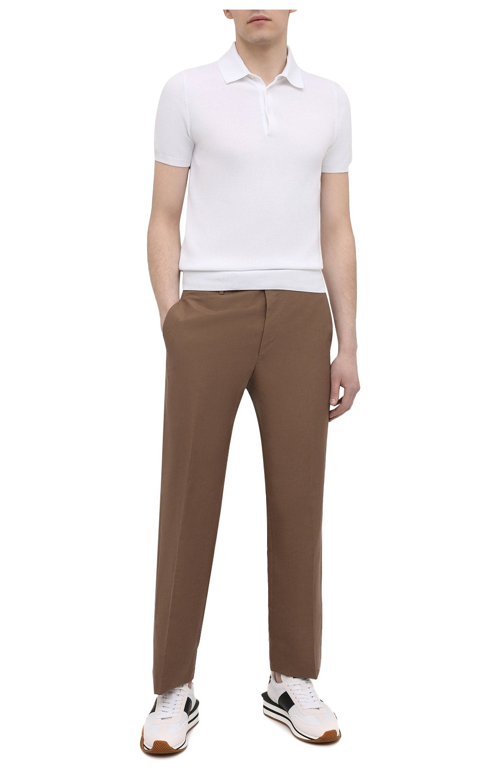 Мужские брюки из шелка и льна TOM FORD коричневого цвета, арт. 976R15/759242   Фото 2