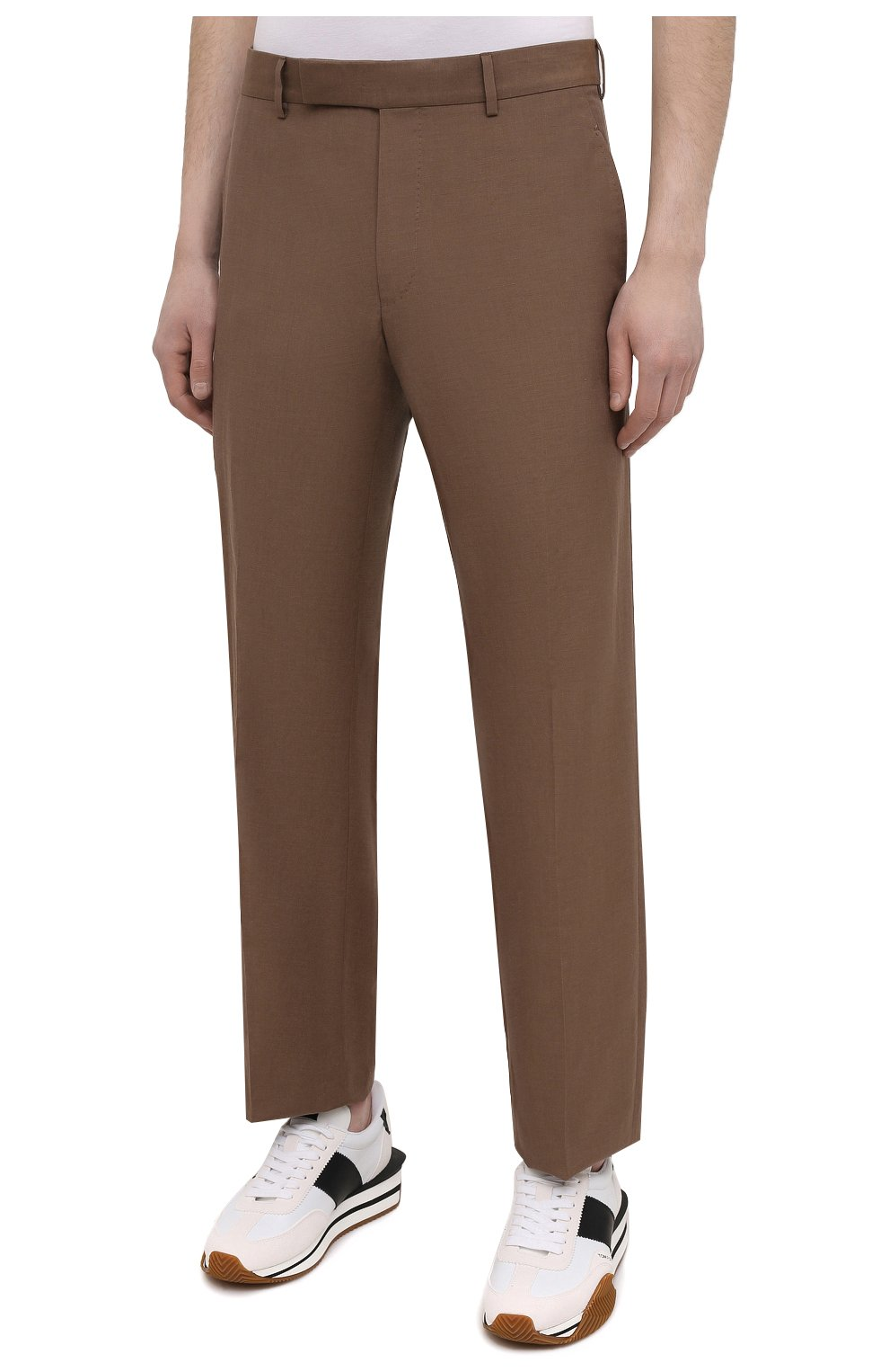 Мужские брюки из шелка и льна TOM FORD коричневого цвета, арт. 976R15/759242   Фото 3