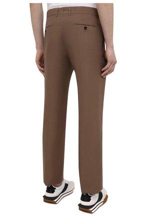 Мужские брюки из шелка и льна TOM FORD коричневого цвета, арт. 976R15/759242   Фото 4