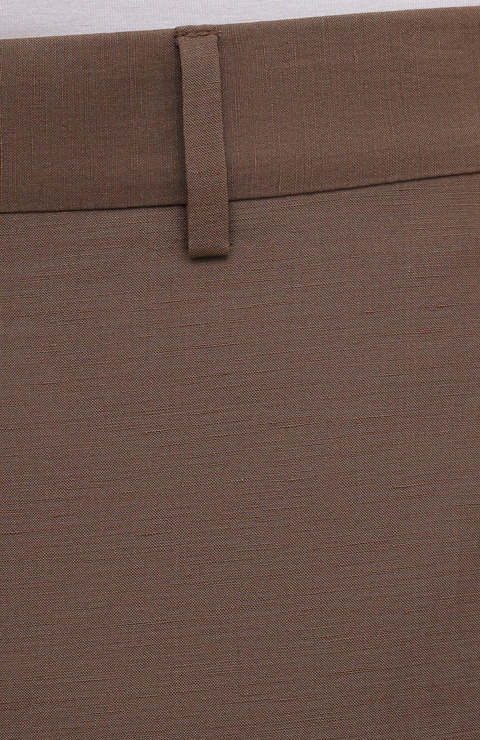 Мужские брюки из шелка и льна TOM FORD коричневого цвета, арт. 976R15/759242   Фото 5