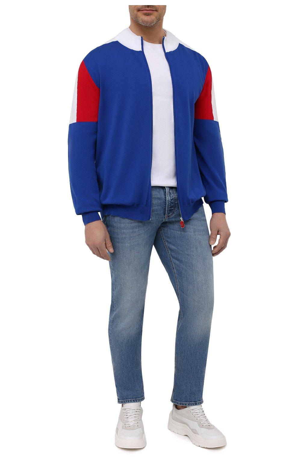 Мужской хлопковый кардиган KITON синего цвета, арт. UK1158L | Фото 2