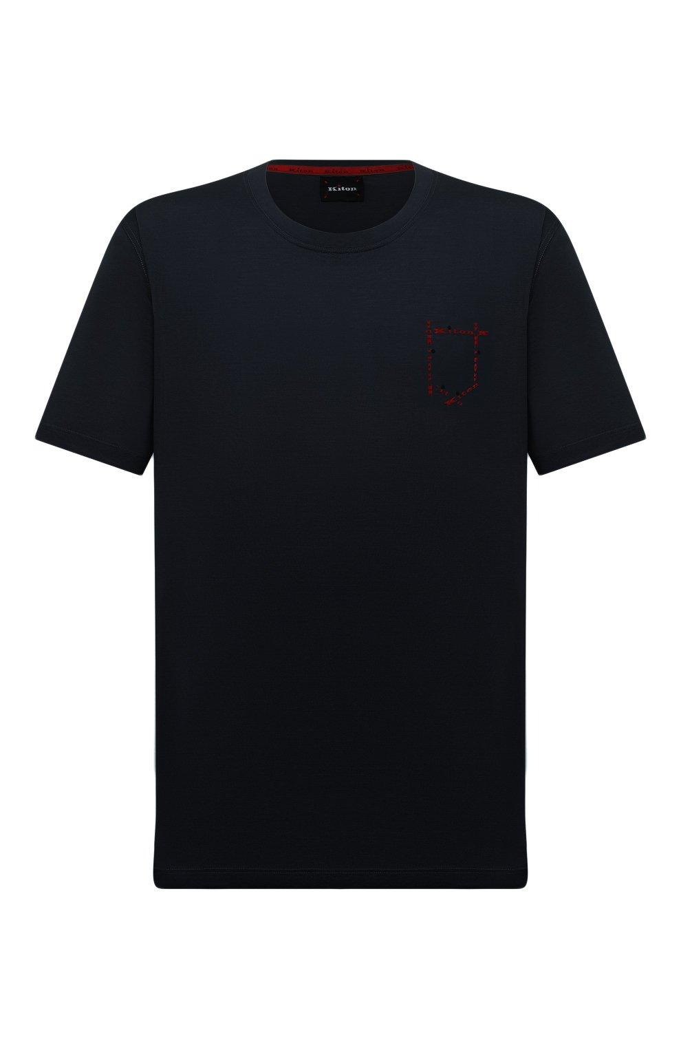 Мужская хлопковая футболка KITON темно-синего цвета, арт. UK1163L   Фото 1