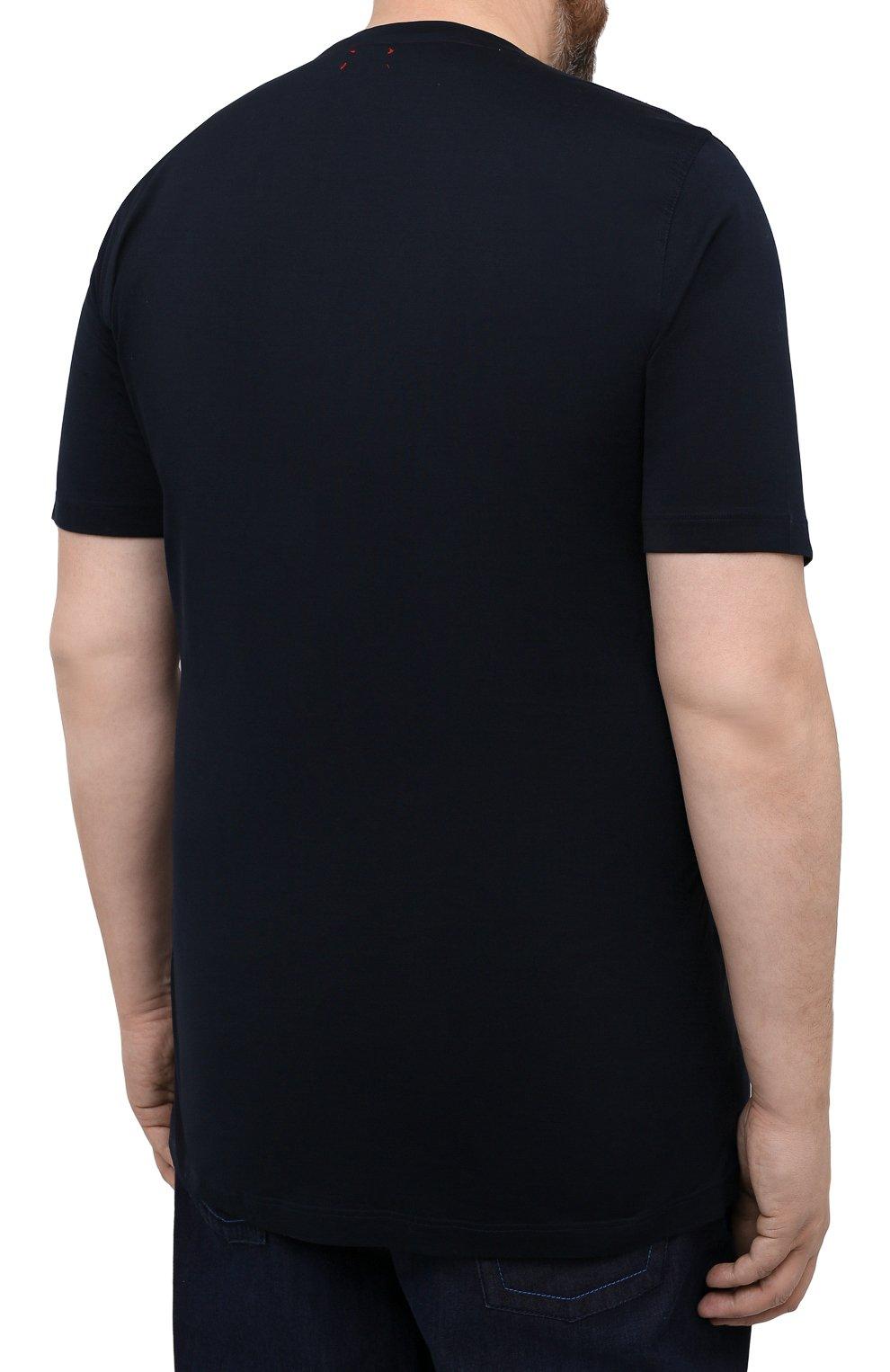Мужская хлопковая футболка KITON темно-синего цвета, арт. UK1163L   Фото 4