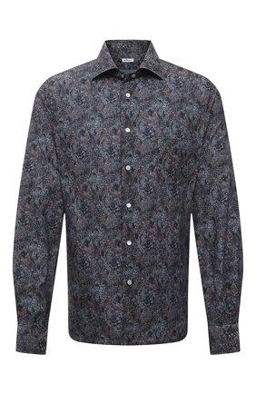 Мужская хлопковая рубашка KITON синего цвета, арт. UMCNERCH0767303 | Фото 1 (Стили: Кэжуэл; Случай: Повседневный; Длина (для топов): Стандартные; Рубашки М: Regular Fit; Рукава: Длинные; Материал внешний: Хлопок; Манжеты: На кнопках; Воротник: Акула; Big sizes: Big Sizes; Принт: С принтом)