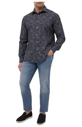Мужская хлопковая рубашка KITON синего цвета, арт. UMCNERCH0767303 | Фото 2 (Стили: Кэжуэл; Случай: Повседневный; Длина (для топов): Стандартные; Рубашки М: Regular Fit; Рукава: Длинные; Материал внешний: Хлопок; Манжеты: На кнопках; Воротник: Акула; Big sizes: Big Sizes; Принт: С принтом)