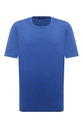 Мужская футболка из хлопка и кашемира KITON синего цвета, арт. UMK0029/4XL-8XL | Фото 1