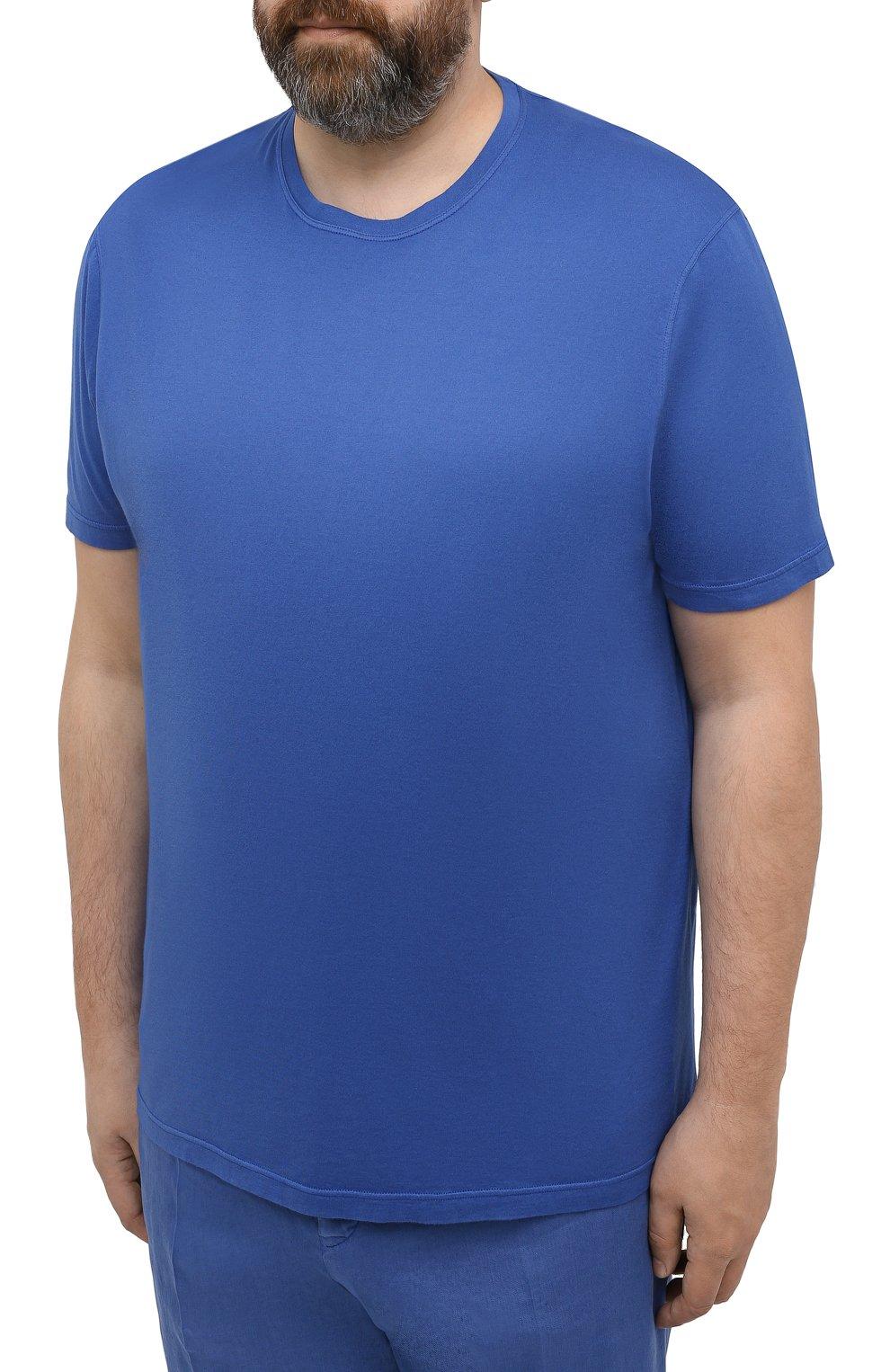 Мужская футболка из хлопка и кашемира KITON синего цвета, арт. UMK0029/4XL-8XL | Фото 3