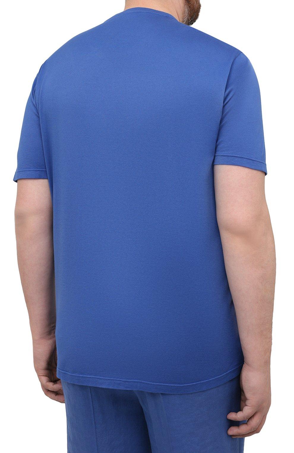 Мужская футболка из хлопка и кашемира KITON синего цвета, арт. UMK0029/4XL-8XL | Фото 4