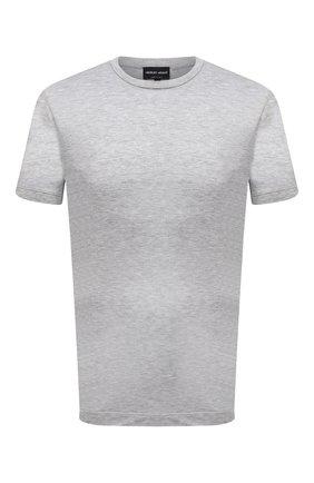 Мужская футболка из вискозы GIORGIO ARMANI серого цвета, арт. 3KSM58/SJYBZ | Фото 1 (Материал внешний: Вискоза; Принт: Без принта; Рукава: Короткие; Длина (для топов): Стандартные; Стили: Кэжуэл)