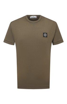 Мужская хлопковая футболка STONE ISLAND хаки цвета, арт. 741524113 | Фото 1