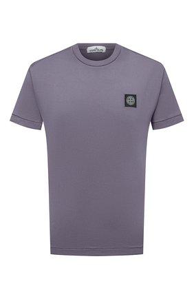 Мужская хлопковая футболка STONE ISLAND темно-серого цвета, арт. 741524113   Фото 1