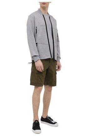Мужская хлопковая футболка STONE ISLAND серого цвета, арт. 741524113 | Фото 2