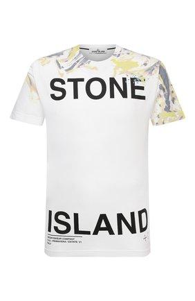 Мужская хлопковая футболка STONE ISLAND белого цвета, арт. 74152NS84 | Фото 1
