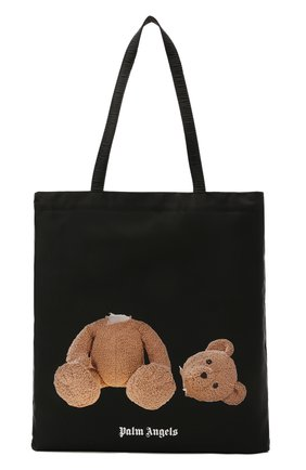 Мужская текстильная сумка-шопер PALM ANGELS черного цвета, арт. PMNP001S21FAB0011060 | Фото 1