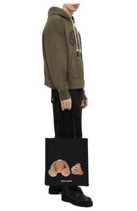Мужская текстильная сумка-шопер PALM ANGELS черного цвета, арт. PMNP001S21FAB0011060 | Фото 2
