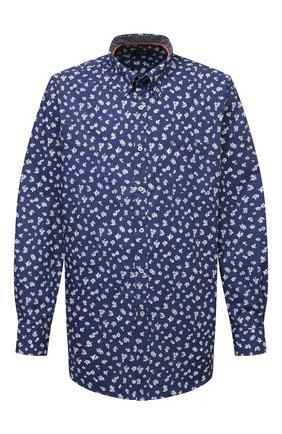Мужская хлопковая рубашка PAUL&SHARK темно-синего цвета, арт. 21413446/C00 | Фото 1 (Материал внешний: Хлопок; Рубашки М: Regular Fit; Стили: Кэжуэл; Рукава: Длинные; Случай: Повседневный; Воротник: Button down; Big sizes: Big Sizes; Принт: С принтом; Манжеты: На пуговицах; Длина (для топов): Удлиненные)
