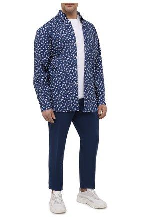 Мужская хлопковая рубашка PAUL&SHARK темно-синего цвета, арт. 21413446/C00 | Фото 2 (Материал внешний: Хлопок; Рубашки М: Regular Fit; Стили: Кэжуэл; Рукава: Длинные; Случай: Повседневный; Воротник: Button down; Big sizes: Big Sizes; Принт: С принтом; Манжеты: На пуговицах; Длина (для топов): Удлиненные)