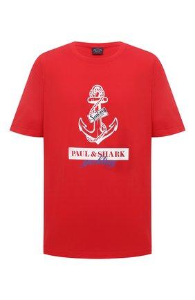 Мужская хлопковая футболка PAUL&SHARK красного цвета, арт. 21411081/C00/3XL-6XL | Фото 1