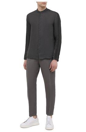 Мужская льняная рубашка TRANSIT темно-серого цвета, арт. CFUTRNV312 | Фото 2